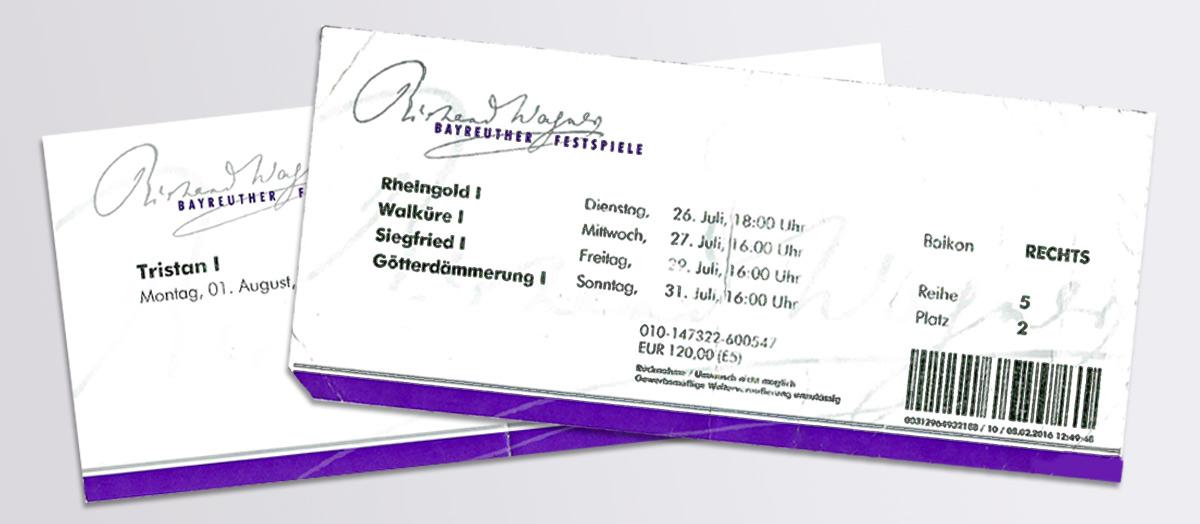Entradas de una pasada edición del Festival. © Bayreuth.es